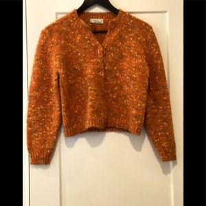Holt Renfrew vintage orange crochet cardigan